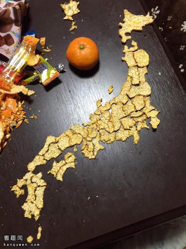 2ch翻译:用橘子皮做了张日本地图wwwwwww