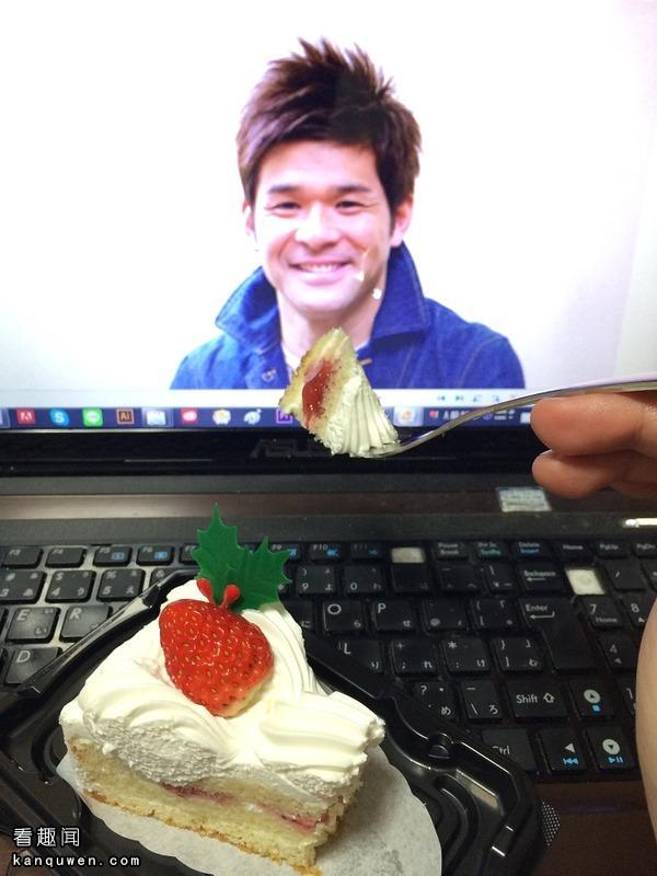 2ch翻译:和电脑里的照英一起吃蛋糕太好玩了哈哈哈wwww