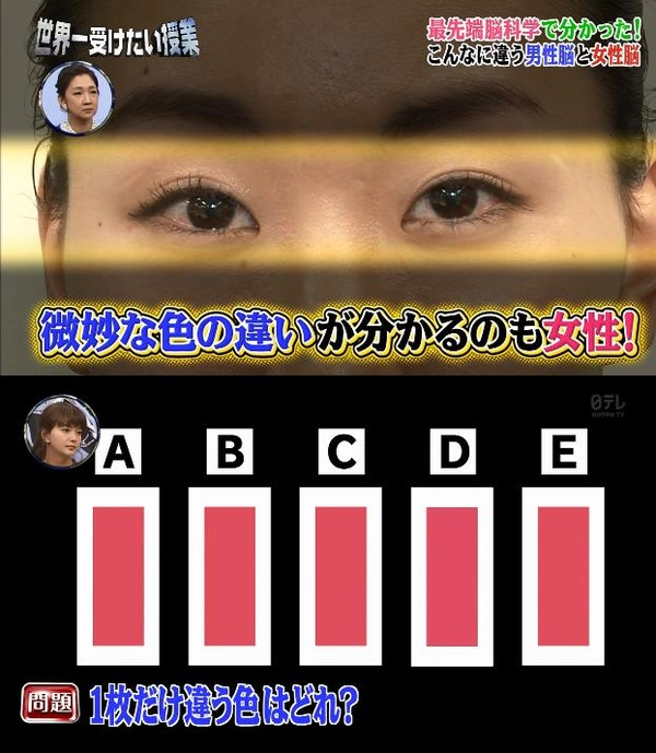 2ch:貌似只有女性能分清楚这些颜色的不同